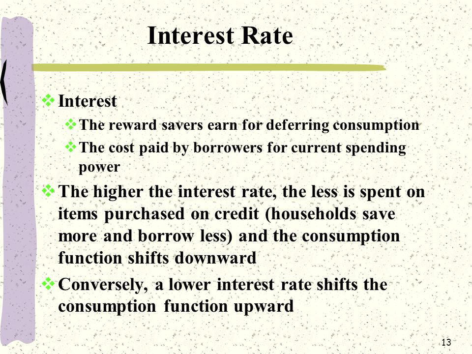 13 Interest Rate  Interest  The reward savers earn for deferring consumption  The cost paid by borrowers for current spending power higher the interest rate  The higher the interest rate, the less is spent on items purchased on credit (households save more and borrow less) and the consumption function shifts downward  Conversely, a lower interest rate shifts the consumption function upward