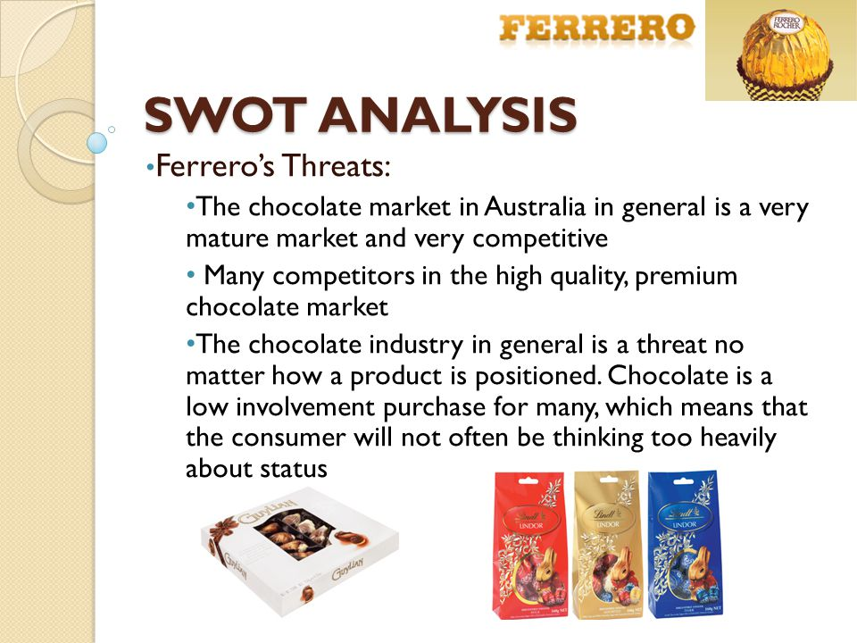 premium chocolate industry swot analysis Search results for 'swot beryl's chocolate' history of beryl's 1995 - real chocolate industry was incorporated in desa serdang, selangor the company introduced her first three product – the triangle bar chocolate, popcorn chocolate.