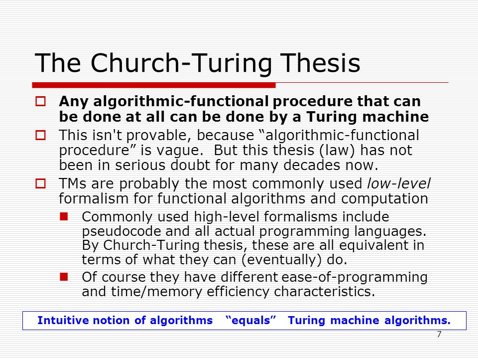 Church thesis theoretical computer science