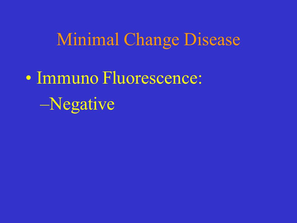 Minimal Change Disease Immuno Fluorescence: –Negative