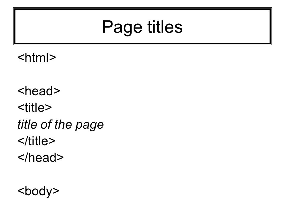 Page titles title of the page