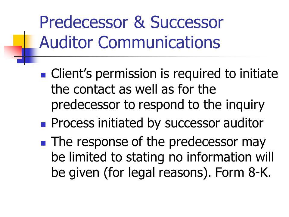 communication between predecessor and successor auditor