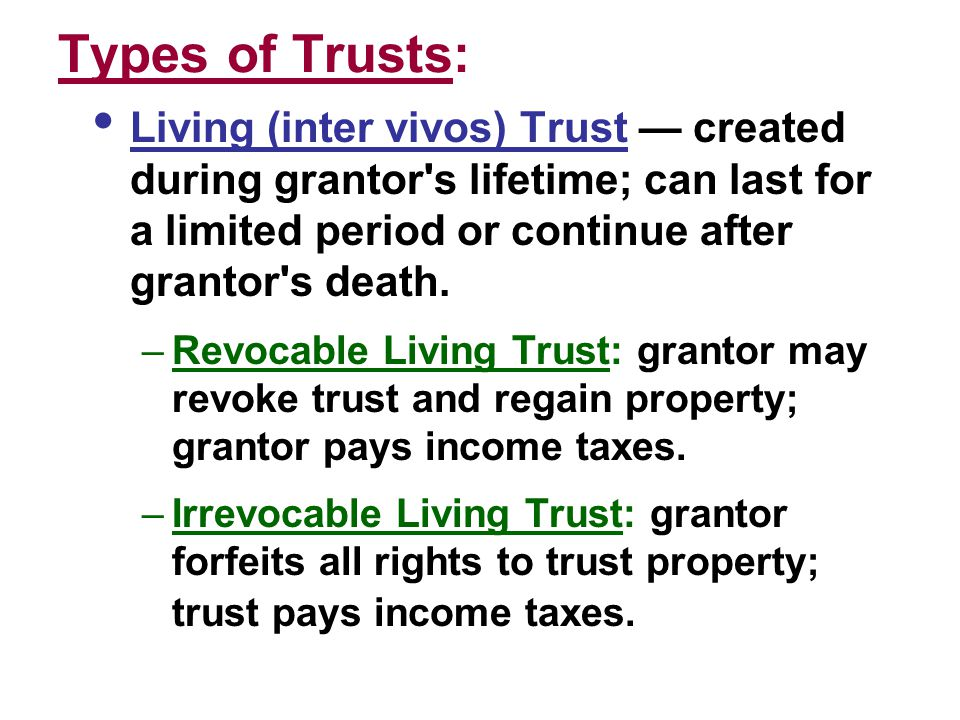 Purposes of Trusts:  Possible income tax savings for those in higher tax brackets.