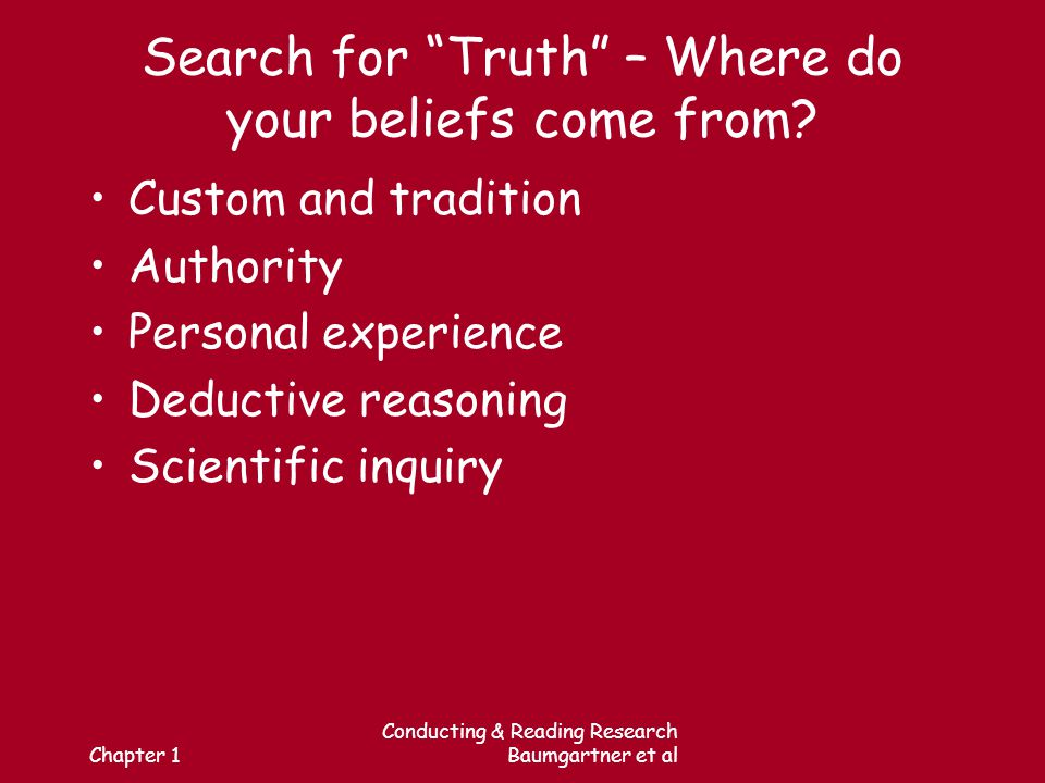 Chapter 1 Conducting & Reading Research Baumgartner et al Search for Truth – Where do your beliefs come from.
