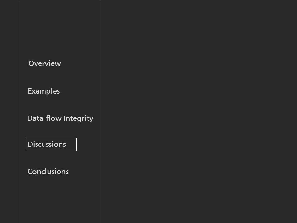 Overview Examples Discussions Data flow Integrity Conclusions
