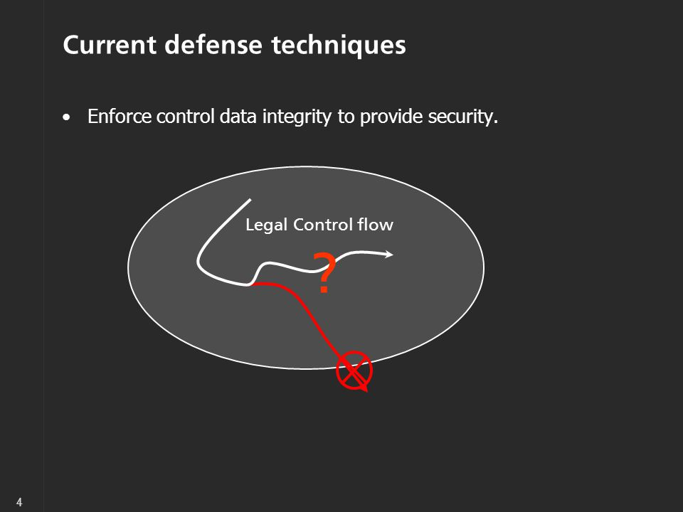 4 Current defense techniques Enforce control data integrity to provide security.