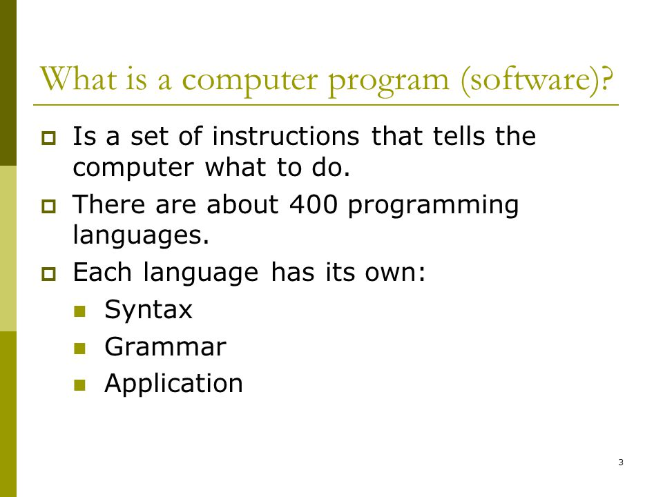 3 What is a computer program (software).