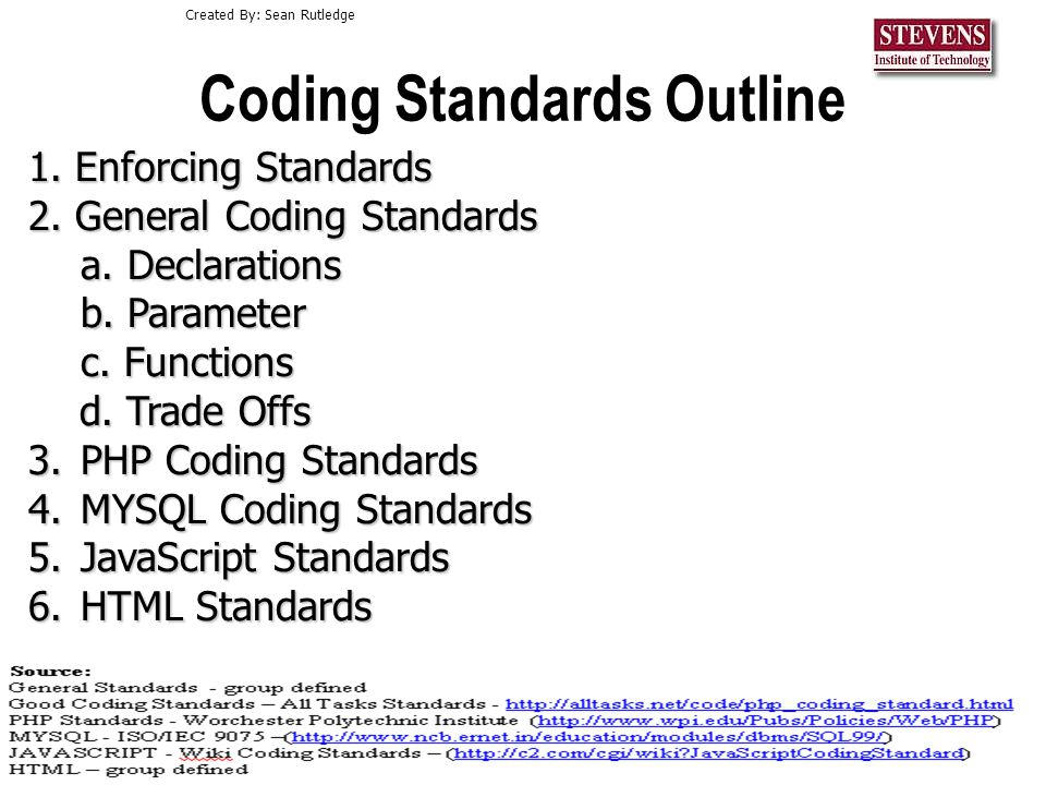 Cs552 Coding And Delievery2 Standards Outline 1