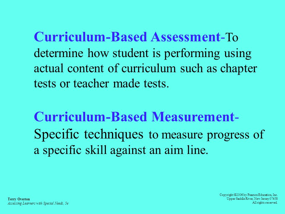 Standardized Assessment- Tests given with specific instructions and procedures, often norm-referenced.