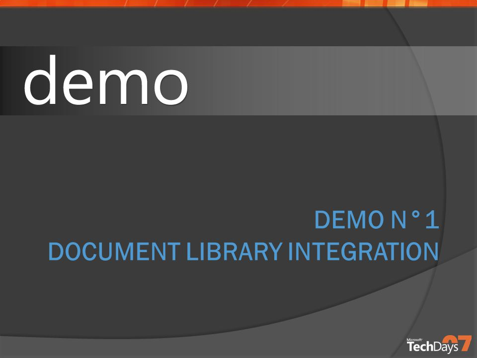 DEMO N°1 DOCUMENT LIBRARY INTEGRATION