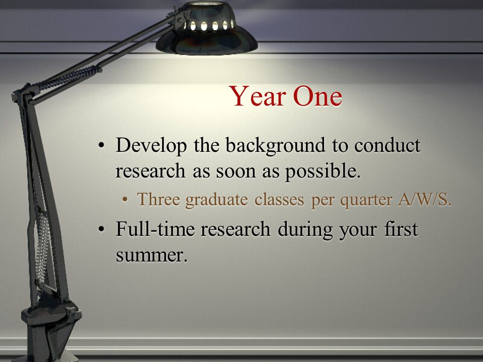 Year One Develop the background to conduct research as soon as possible.