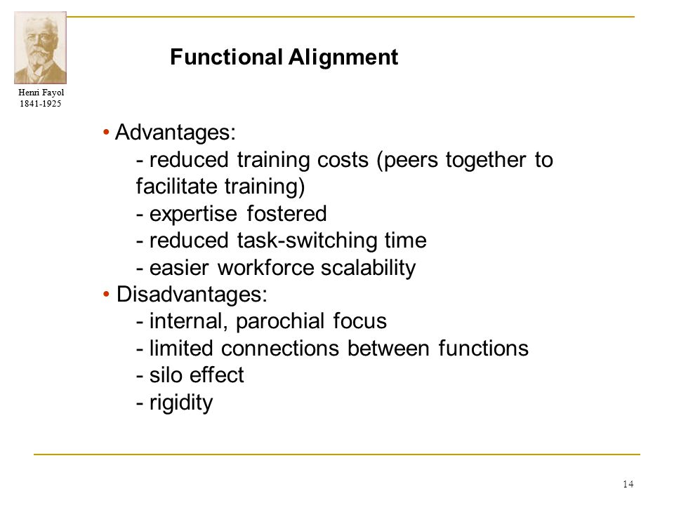 Henri Fayol 1841-1925 Henri Fayol 1841-1925 14 Functional Alignment Advantages: - reduced training costs (peers together to facilitate training) - exp