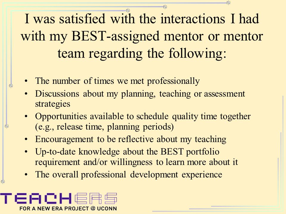 I was satisfied with the interactions I had with my BEST-assigned mentor or mentor team regarding the following: The number of times we met professionally Discussions about my planning, teaching or assessment strategies Opportunities available to schedule quality time together (e.g., release time, planning periods) Encouragement to be reflective about my teaching Up-to-date knowledge about the BEST portfolio requirement and/or willingness to learn more about it The overall professional development experience