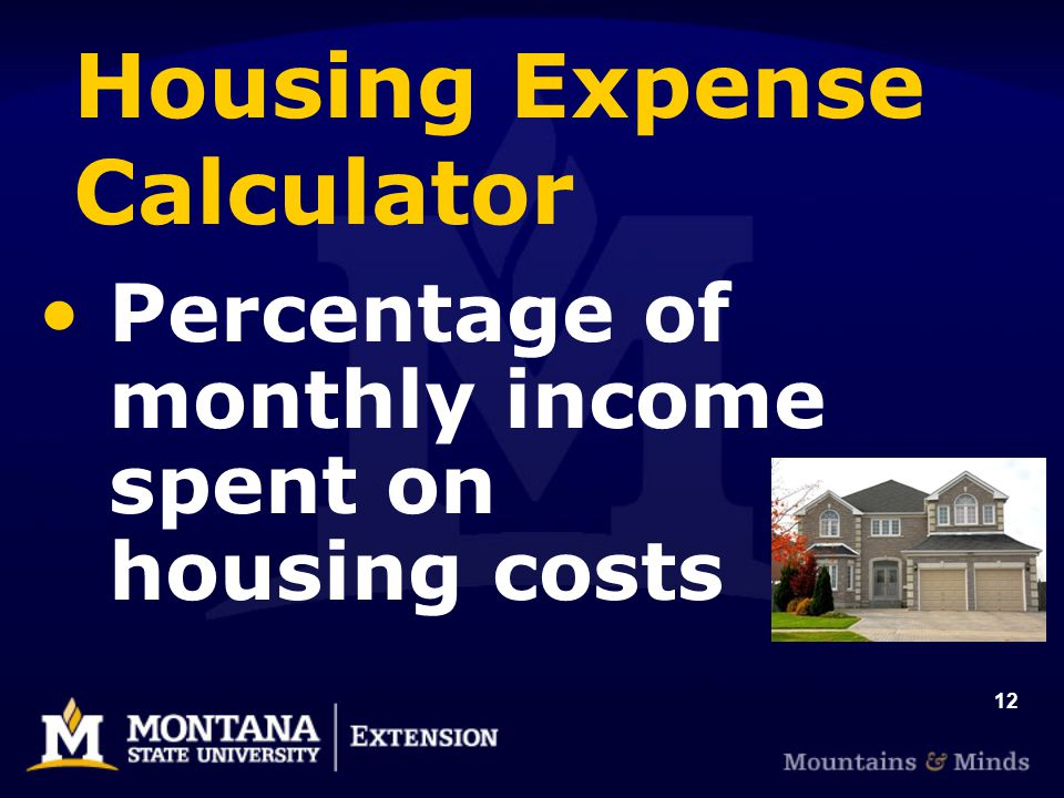 12 Housing Expense Calculator Percentage of monthly income spent on housing costs