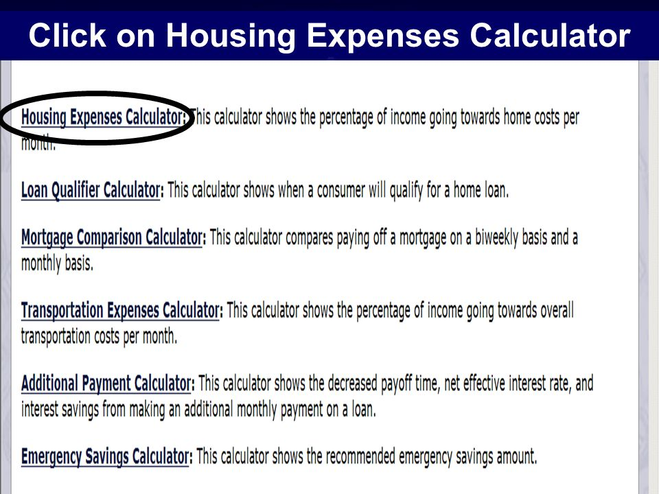 13 Click on Housing Expenses Calculator