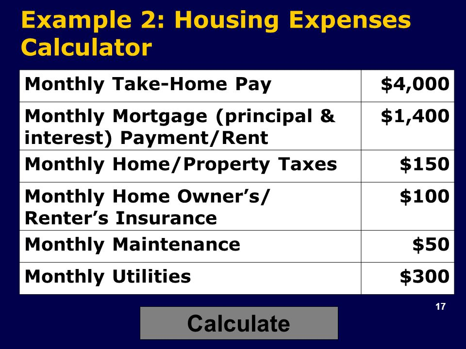 17 Example 2: Housing Expenses Calculator Monthly Take-Home Pay$4,000 Monthly Mortgage (principal & interest) Payment/Rent $1,400 Monthly Home/Property Taxes$150 Monthly Home Owner's/ Renter's Insurance $100 Monthly Maintenance$50 Monthly Utilities$300 Calculate