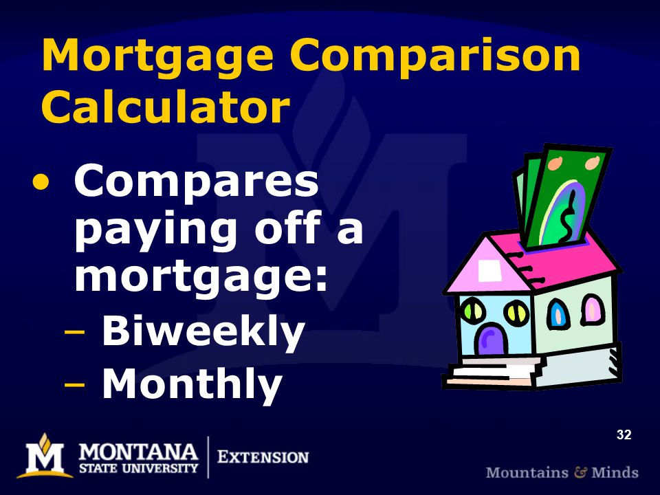 32 Mortgage Comparison Calculator Compares paying off a mortgage: –Biweekly –Monthly