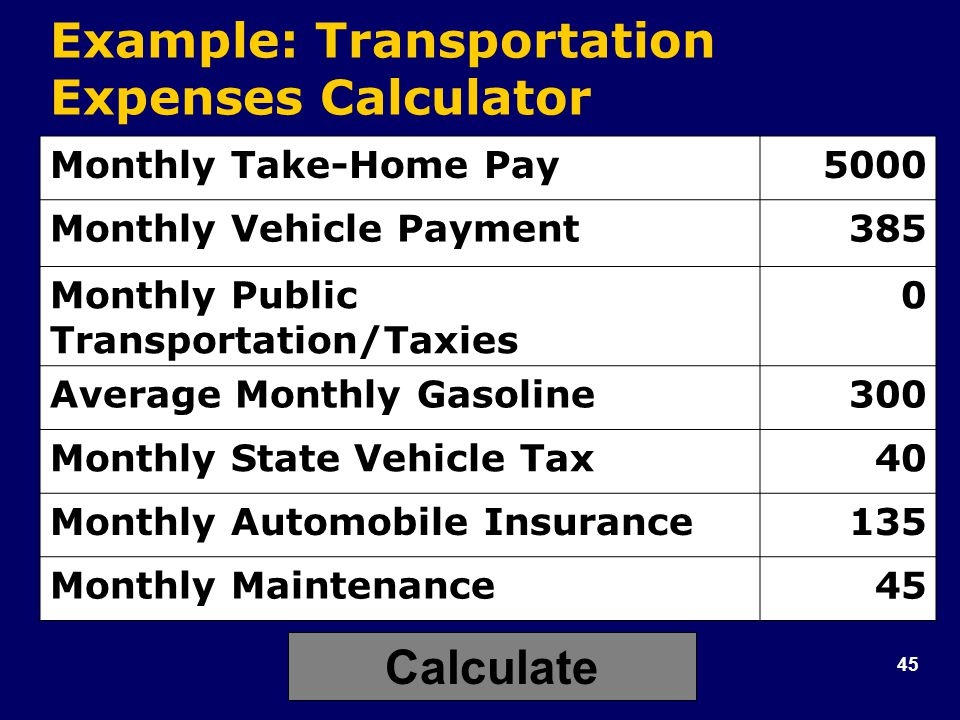 45 Example: Transportation Expenses Calculator Monthly Take-Home Pay5000 Monthly Vehicle Payment385 Monthly Public Transportation/Taxies 0 Average Monthly Gasoline300 Monthly State Vehicle Tax40 Monthly Automobile Insurance135 Monthly Maintenance45 Calculate