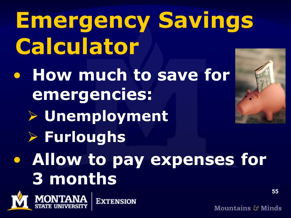 55 Emergency Savings Calculator How much to save for emergencies:  Unemployment  Furloughs Allow to pay expenses for 3 months