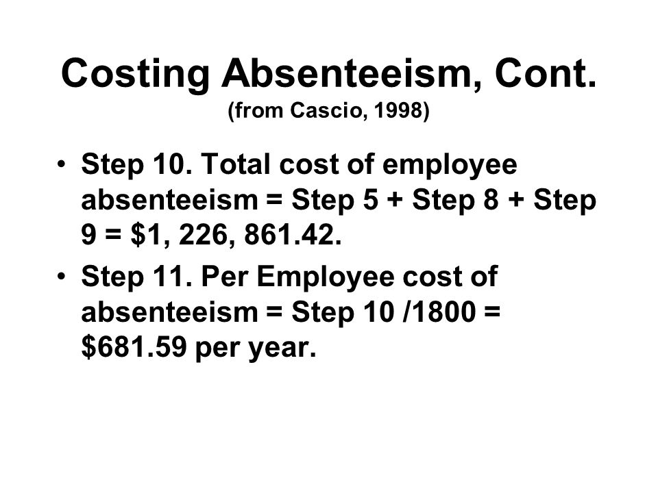 Costing Absenteeism, Cont. (from Cascio, 1998) Step 10.