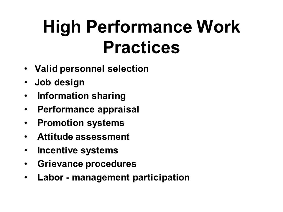 High Performance Work Practices Valid personnel selection Job design Information sharing Performance appraisal Promotion systems Attitude assessment Incentive systems Grievance procedures Labor - management participation