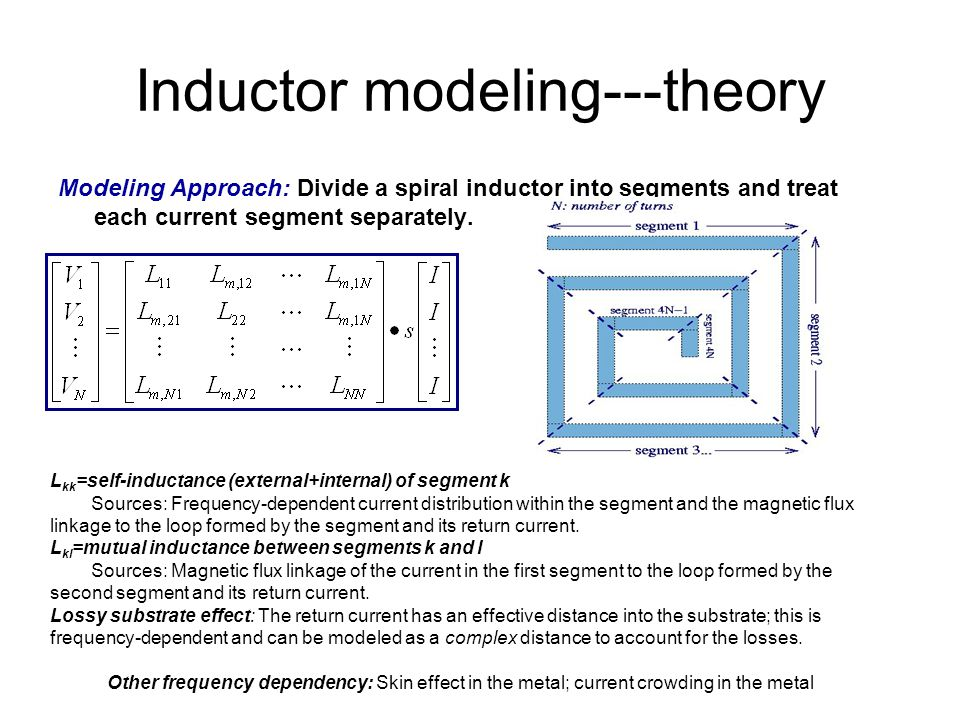 Inductor modeling---theory Modeling Approach: Divide a spiral inductor into segments and treat each current segment separately.