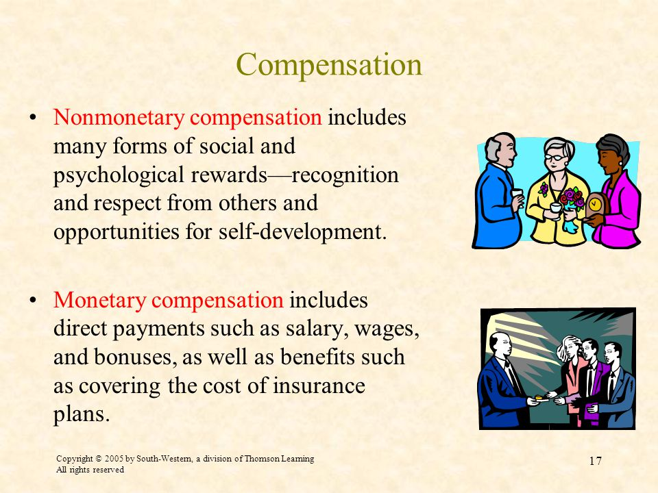 Copyright © 2005 by South-Western, a division of Thomson Learning All rights reserved 17 Compensation Nonmonetary compensation includes many forms of social and psychological rewards—recognition and respect from others and opportunities for self-development.