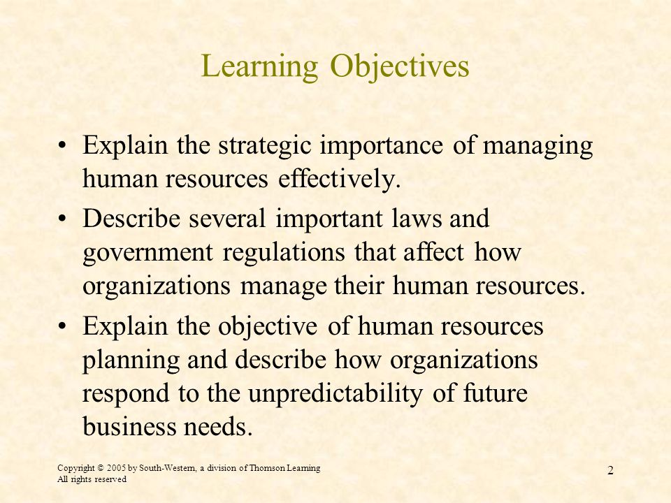 Copyright © 2005 by South-Western, a division of Thomson Learning All rights reserved 2 Learning Objectives Explain the strategic importance of managing human resources effectively.