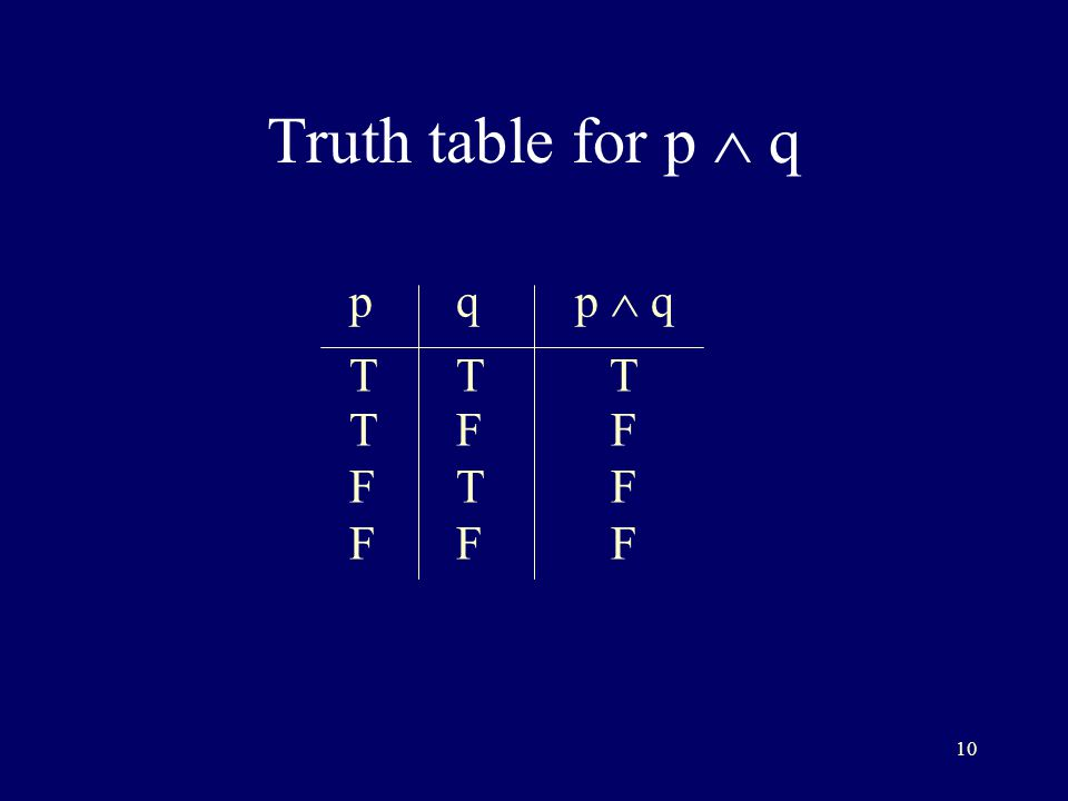 10 Truth table for p  q pq p  q TT T TF F FT F FF F