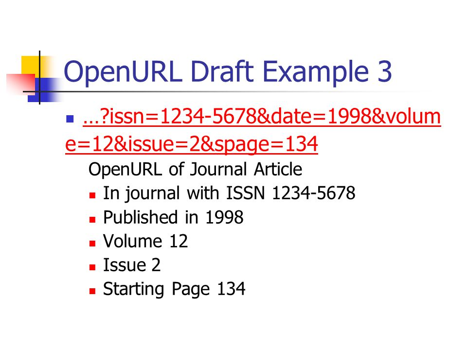 OpenURL Draft Example 3 … issn= &date=1998&volum e=12&issue=2&spage=134 OpenURL of Journal Article In journal with ISSN Published in 1998 Volume 12 Issue 2 Starting Page 134