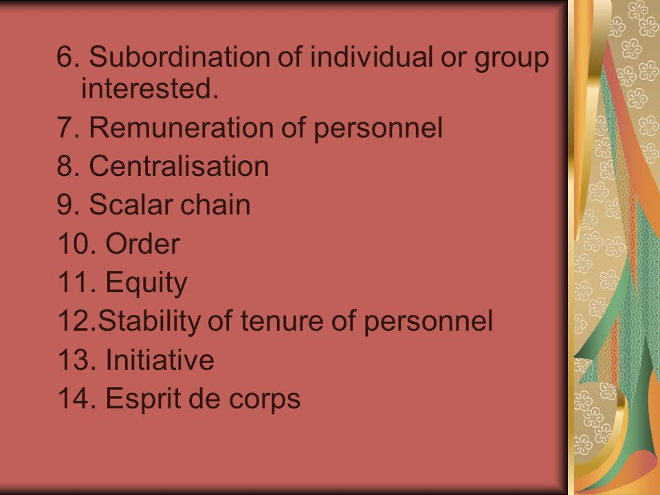 6. Subordination of individual or group interested.