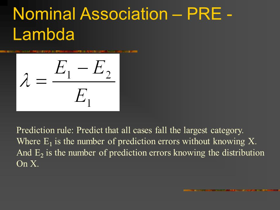 Nominal Association – PRE - Lambda Prediction rule: Predict that all cases fall the largest category.