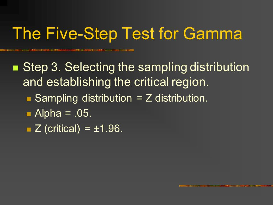 The Five-Step Test for Gamma Step 3.