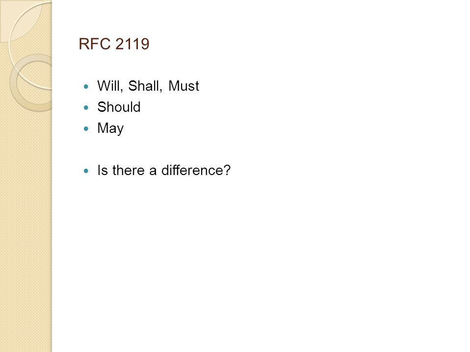 RFC 2119 Will, Shall, Must Should May Is there a difference