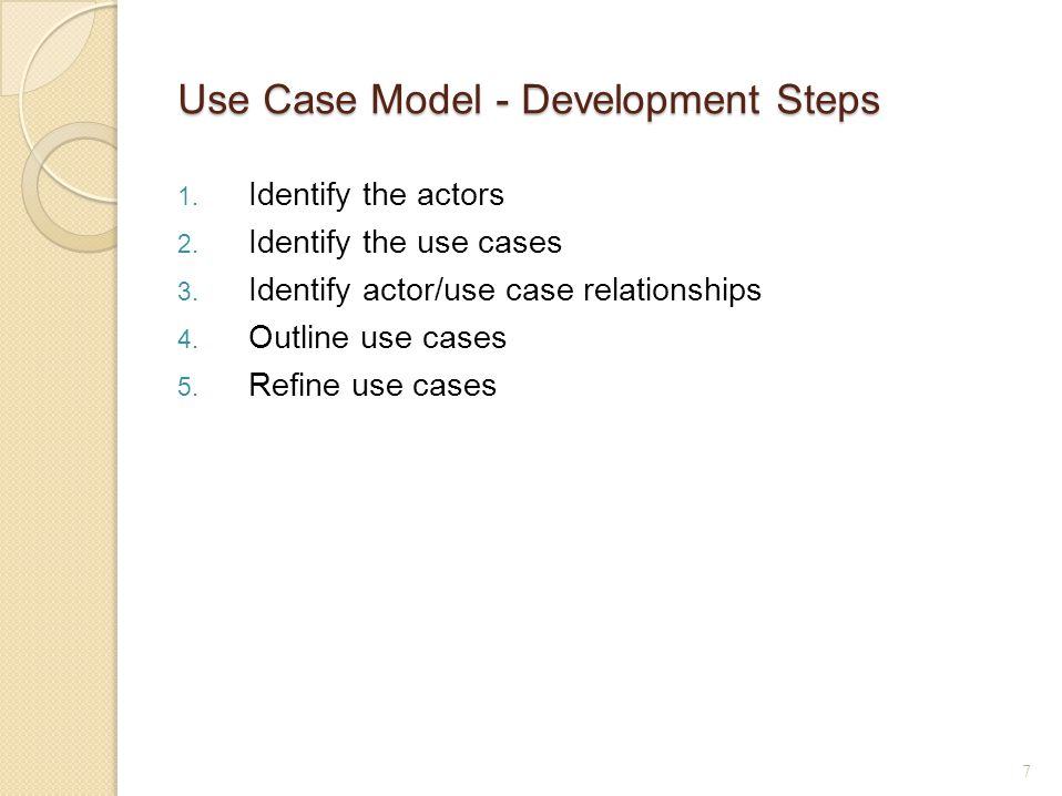 Use Case Model - Development Steps 1. Identify the actors 2.