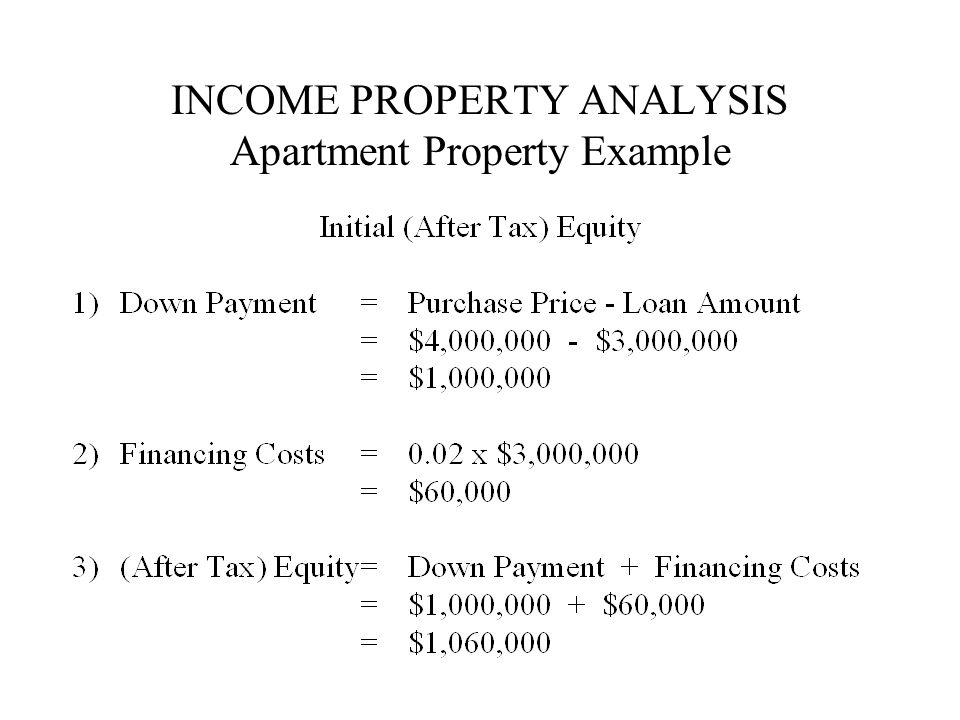 INCOME PROPERTY ANALYSIS Apartment Property Example