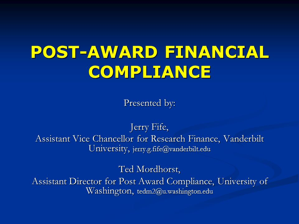 Post award financial compliance presented by jerry fife assistant 1 post award malvernweather Gallery