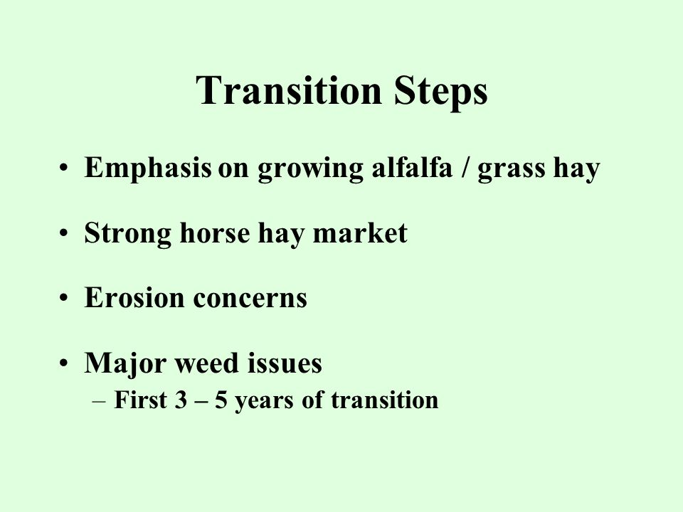 Transition Steps Emphasis on growing alfalfa / grass hay Strong horse hay market Erosion concerns Major weed issues –First 3 – 5 years of transition