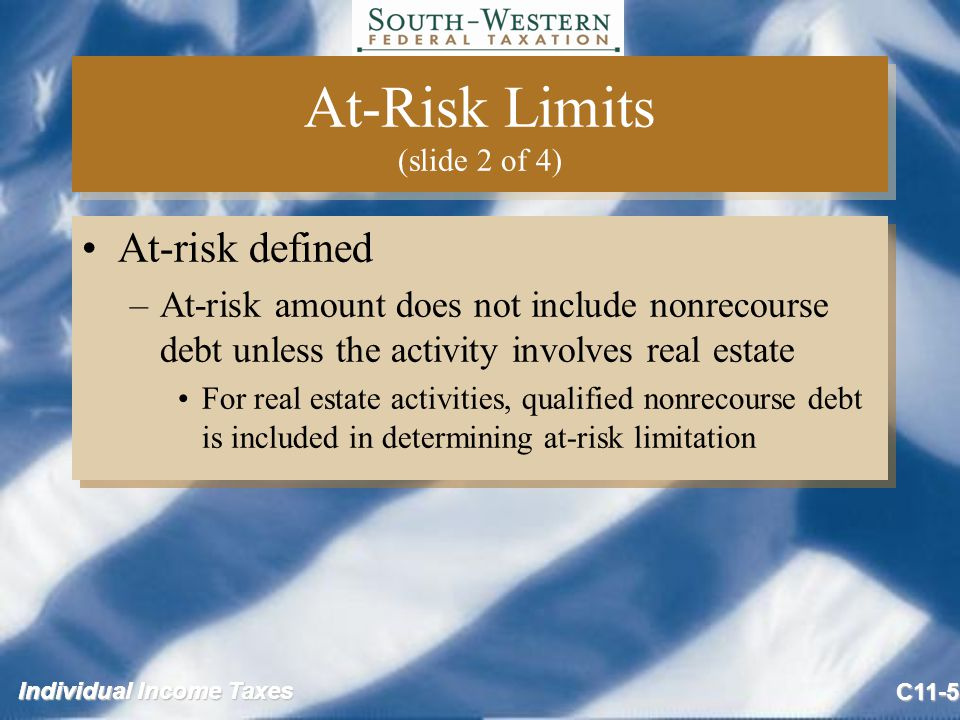 Individual Income Taxes C11-5 At-Risk Limits (slide 2 of 4) At-risk defined –At-risk amount does not include nonrecourse debt unless the activity involves real estate For real estate activities, qualified nonrecourse debt is included in determining at-risk limitation At-risk defined –At-risk amount does not include nonrecourse debt unless the activity involves real estate For real estate activities, qualified nonrecourse debt is included in determining at-risk limitation