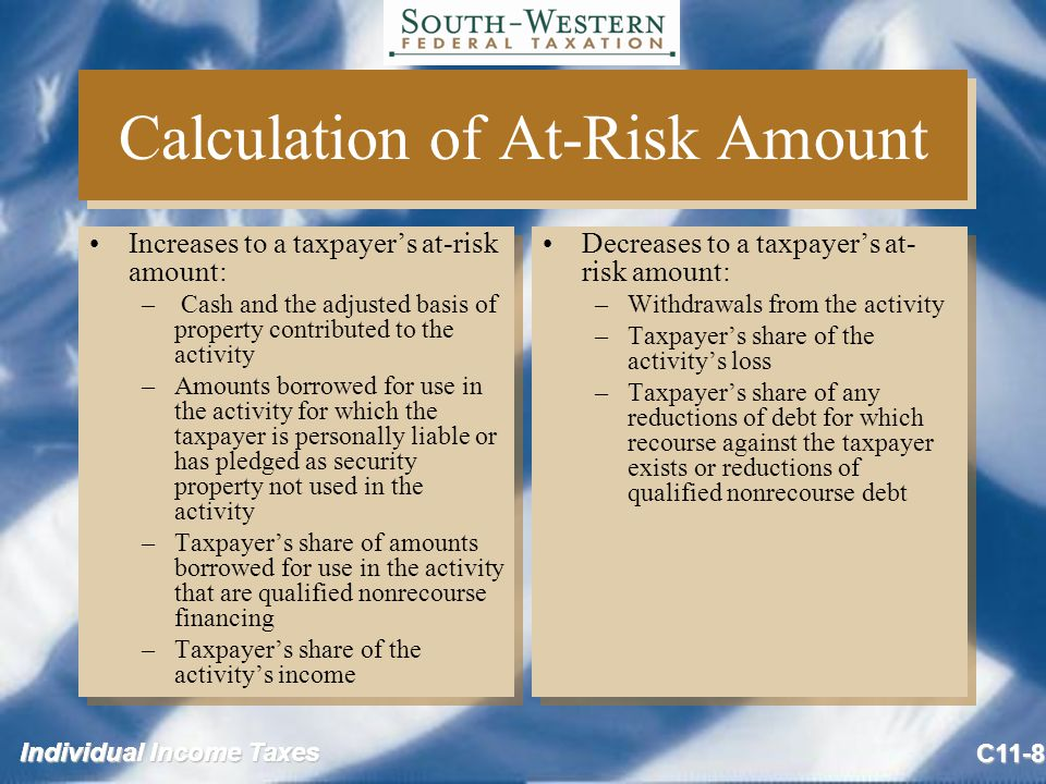 Individual Income Taxes C11-8 Calculation of At-Risk Amount Increases to a taxpayer's at-risk amount: – Cash and the adjusted basis of property contributed to the activity –Amounts borrowed for use in the activity for which the taxpayer is personally liable or has pledged as security property not used in the activity –Taxpayer's share of amounts borrowed for use in the activity that are qualified nonrecourse financing –Taxpayer's share of the activity's income Increases to a taxpayer's at-risk amount: – Cash and the adjusted basis of property contributed to the activity –Amounts borrowed for use in the activity for which the taxpayer is personally liable or has pledged as security property not used in the activity –Taxpayer's share of amounts borrowed for use in the activity that are qualified nonrecourse financing –Taxpayer's share of the activity's income Decreases to a taxpayer's at- risk amount: –Withdrawals from the activity –Taxpayer's share of the activity's loss –Taxpayer's share of any reductions of debt for which recourse against the taxpayer exists or reductions of qualified nonrecourse debt