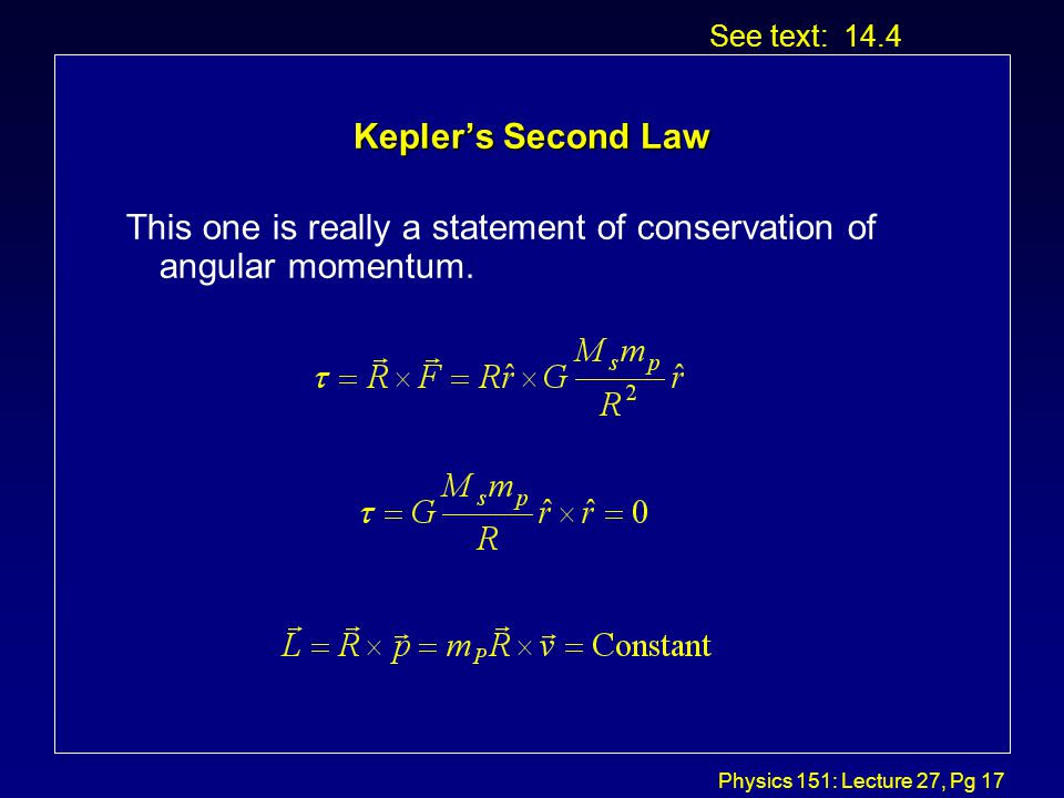 Physics 151: Lecture 27, Pg 16 Kepler's Third Law Let's start with Newton's law of gravity and take the special case of a circular orbit.