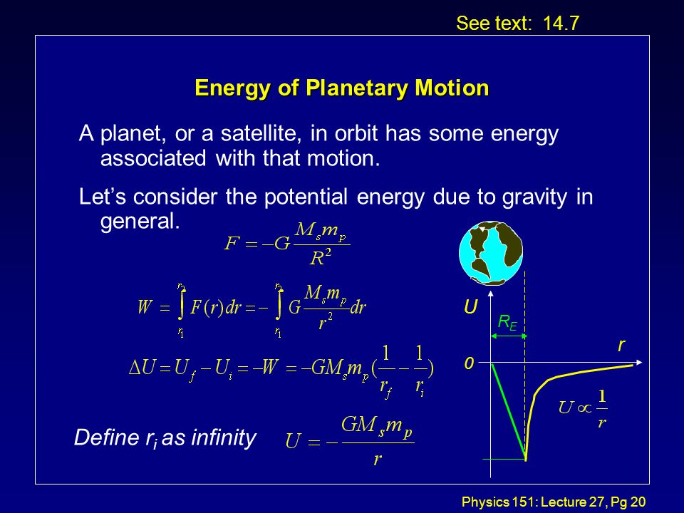 Physics 151: Lecture 27, Pg 19 Kepler's Second Law See text: 14.4 R dR dA