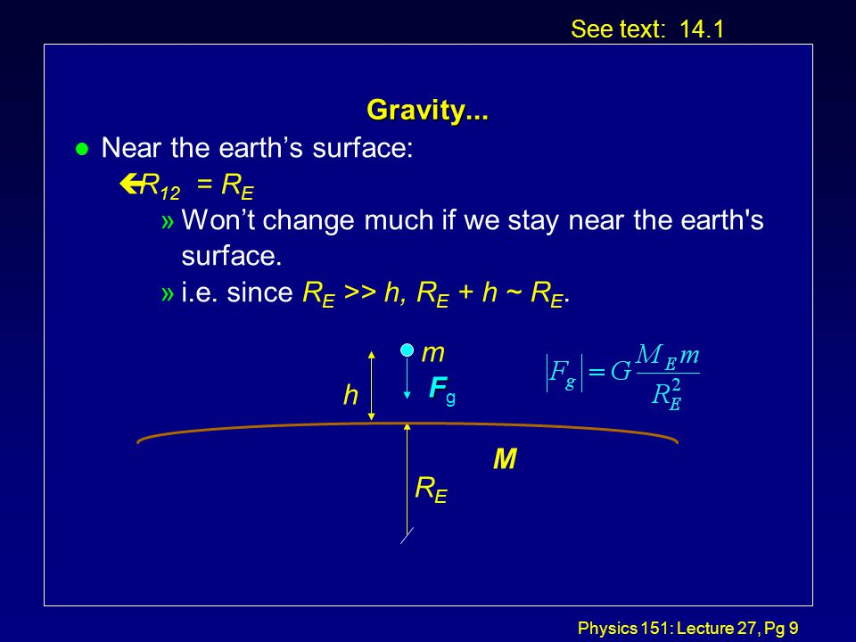 Physics 151: Lecture 27, Pg 8 Gravity...