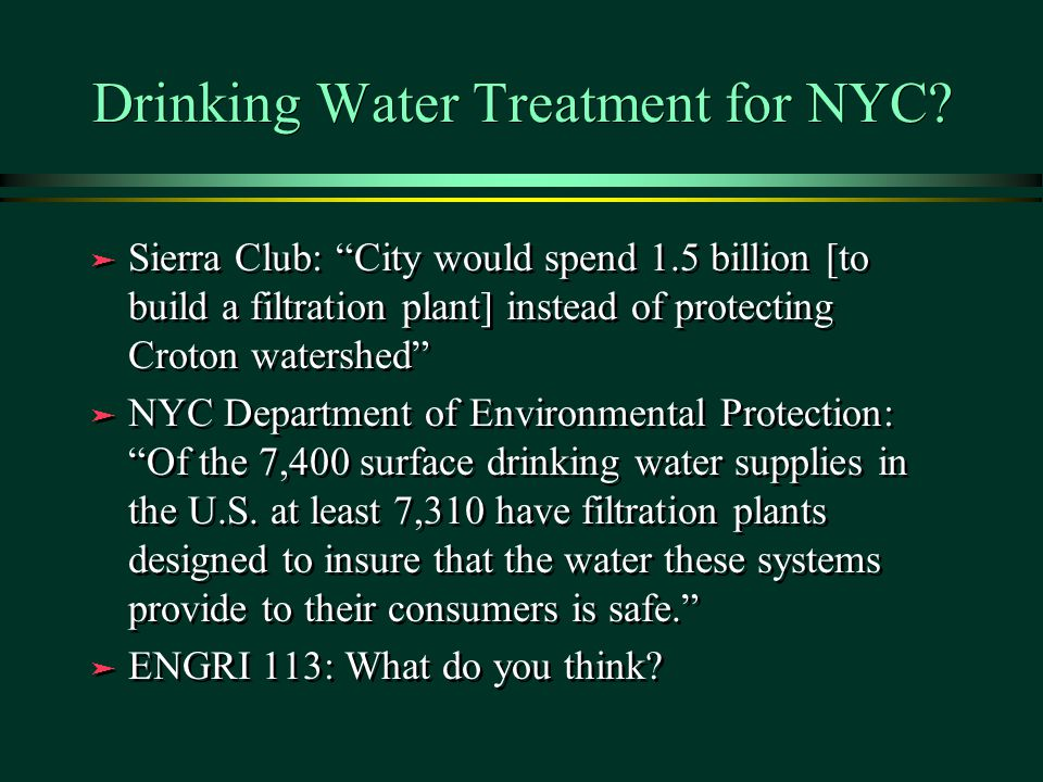 Drinking Water Treatment for NYC.