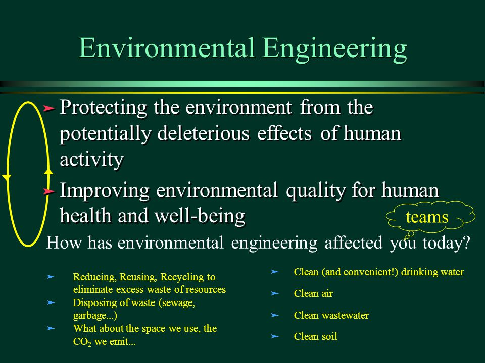 Environmental Engineering ä Protecting the environment from the potentially deleterious effects of human activity ä Improving environmental quality for human health and well-being ä Protecting the environment from the potentially deleterious effects of human activity ä Improving environmental quality for human health and well-being How has environmental engineering affected you today.