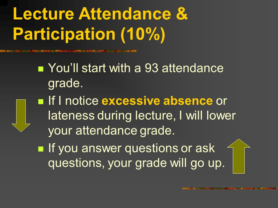 Lecture Attendance & Participation (10%) You'll start with a 93 attendance grade.