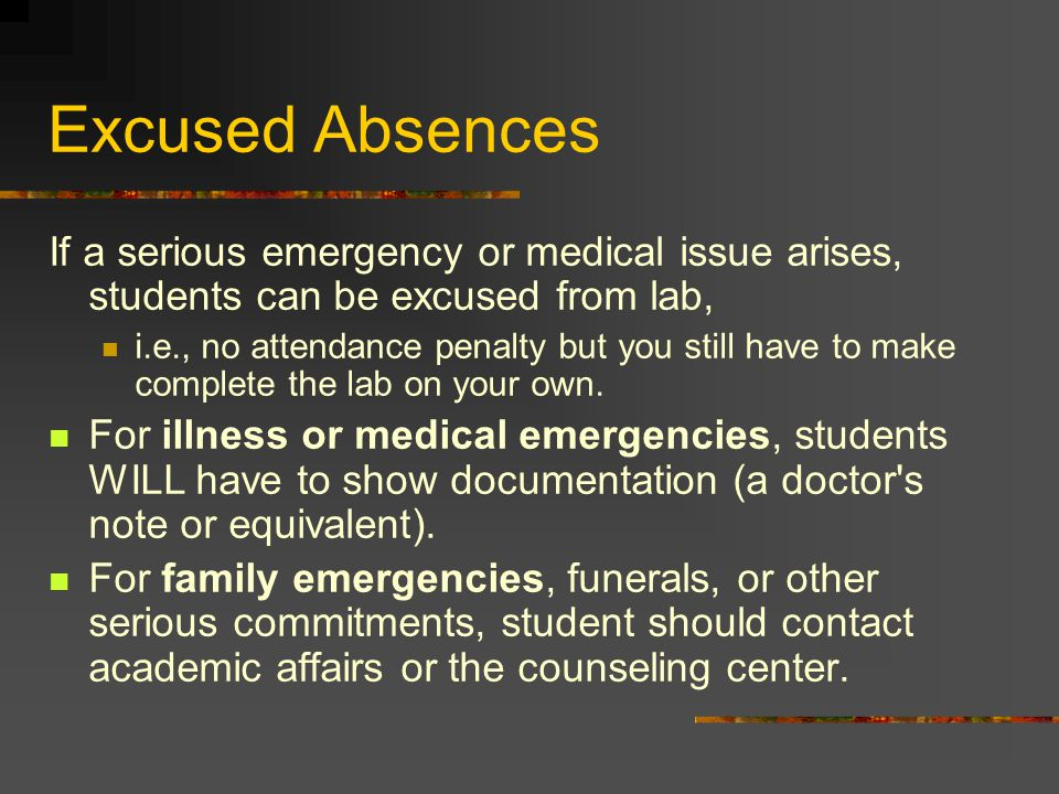 Excused Absences If a serious emergency or medical issue arises, students can be excused from lab, i.e., no attendance penalty but you still have to make complete the lab on your own.