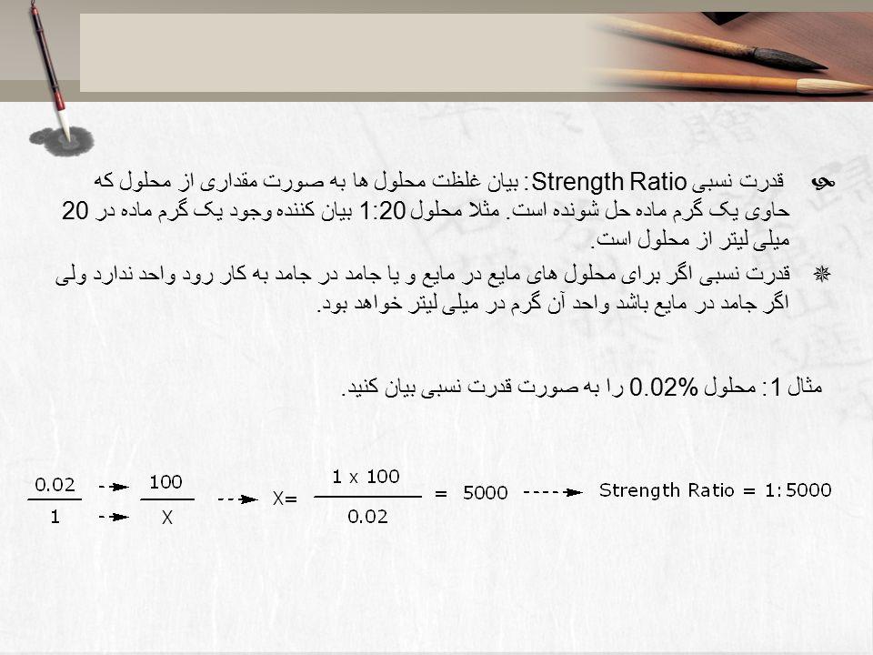 محاسبات داروسازی دکتر هادی اسماعیلی اعداد رومی 6 قانون برای به کار ...قدرت نسبی Strength Ratio: بیان غلظت محلول ها به صورت مقداری از محلول که