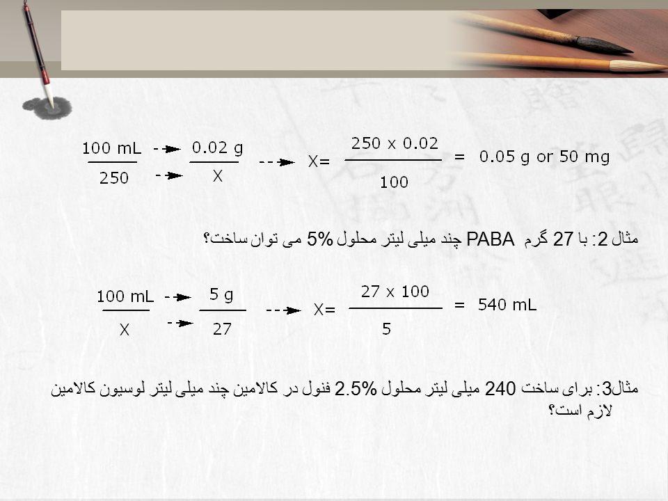 محاسبات داروسازی دکتر هادی اسماعیلی اعداد رومی 6 قانون برای به کار ...مثال 2: با 27 گرم PABA چند میلی لیتر محلول 5% می توان ساخت