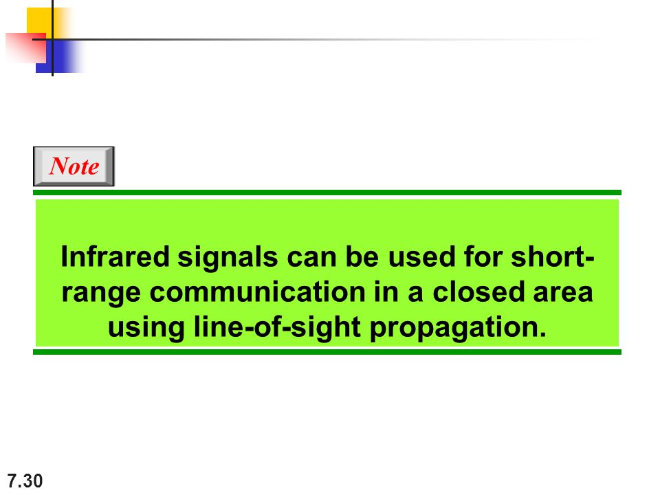 7.30 Infrared signals can be used for short- range communication in a closed area using line-of-sight propagation.